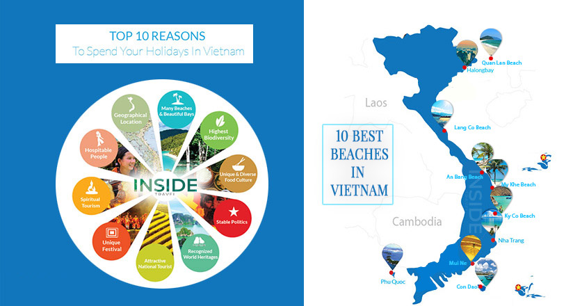 Map of top 10 best beaches in Vietnam