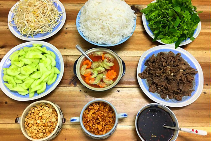 Ingredients of Bun Bo Nam Bo