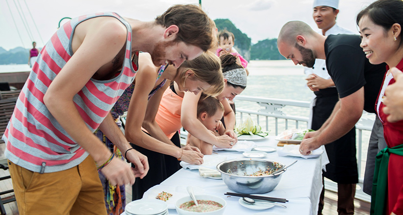 Cooking demonstration on Halong Bay Cruises