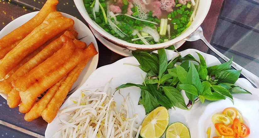 Pho with Vietnamese crullers and vegetables